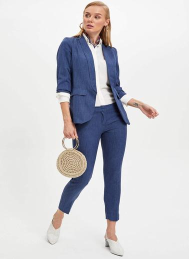 DeFacto Slim Fit Blazer Ceket Mavi